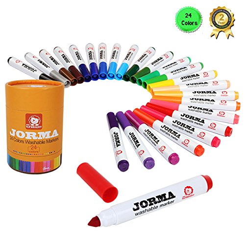 Magicdo® 24cols/Pack Ultra-clean Broad Line Washable Markers, Super Tip Water-based Markers Classic Colors, Watercolor Pen with Non-Toxic for Kids and Adults - Painted On Ski Pant