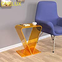 ONELUX Elegant Acrylic Occasional Small Tea Table,Lucite Sofa Side Magazine Tables (Clear Orange)