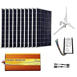 ECO-WORTHY 1.4Kw Wind Solar Power: 400W Wind Turbine Generator & 10pcs 100W Poly Solar Panels & 1500W 24V-110V Off Grid Inverter & Cable Connector Home Boat RV