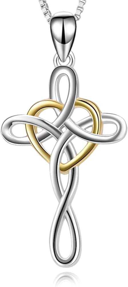 YFN Cross Necklace 925 Sterling Silver Celtic Knot Cross Infinity Heart Love Pendant Necklace 18""