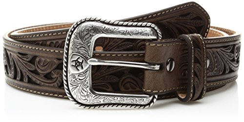 Inlay Scroll (Ariat Men's Scroll Cut Out Brown Inlay Western Belt, Brown, 40)