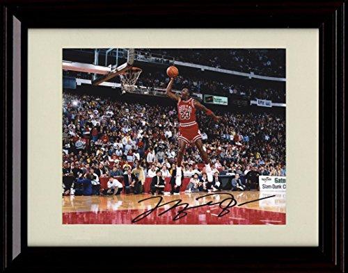 (Framed Michael Jordan Dunk Contest Autograph Replica Print - Chicago Bulls)
