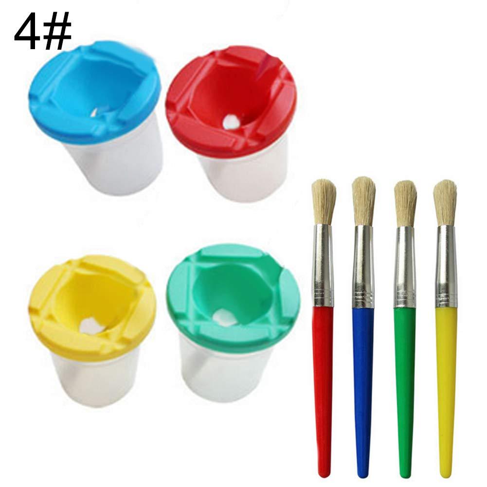 everd1487HH CreativeDIY Plastic Children Kids Paint Brush Pen Cup Set Scrawl Accessories High Flexible Good Absorptivity Art Supplies 1#