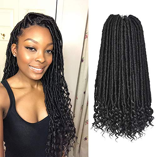 Alileader 6 Packs 16 Inch Black Goddess Faux Locs Crochet Hair Extension with Curly Ends Bohemian Locs Starter Locs Dreadlocks Pre-Looped Synthetic Braiding Hair 24Roots/Pack