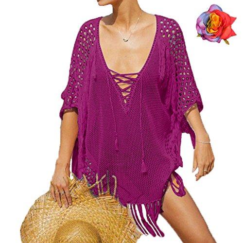 MuRstido Copricostume Costume da Bagno Parei Spiaggia Maglieria Donna Tunica Bikini Cover up Beachwear Mare Rosso