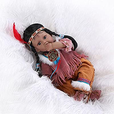 Funny House Handmade 20  50 cm Vinyl Silicone Reborn Baby Dolls Realistic  Lifelike Reborn Baby Doll Newborn Dolls Native American Indian doll  collection Toy ... 96d138b15867