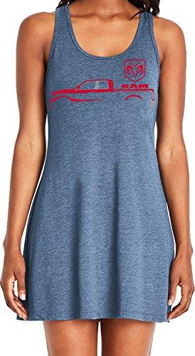 Amdesco Ladies Ram Trucks, Red Truck Silhouette Casual Racerback Tank Dress, Indigo Small ()