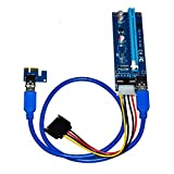 1-Pack PCI-E 1x to 16x Powered Riser Adapter Card With 60CM High Speed USB 3.0 Cable, SATA to Molex 4-Pin Power Cable, Ethereum Mining ETH Miner Rig Cable, GPU Riser Adapter, Adwits Brand