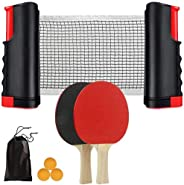 Portable Ping Pong Set,Complete Portable Ping-Pong Set with Retractable Net Net for Any Table