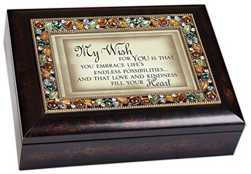 My Wish for You Inspirational Italian Style Burlwood Finish Decorative Jewel Lid Musical Music Jewelry Box - Plays