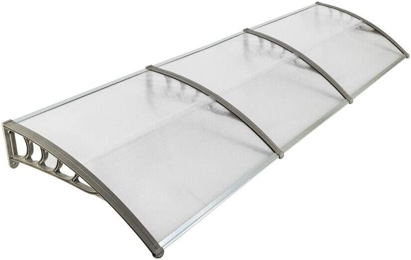 "Chic Lovery 4289 Transparent Sheet Silver Gray Bracket 40""x120"" DIY Eaves Canopy Waterproof ABS Polycarbonate Door Window Awning Sun Snow Rain Cover UV Protection Patio Cool Shade Home Decor Summer"