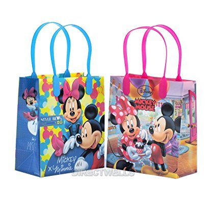Disney Mickey and Minnie Mouse Reusable Premium Party Favor Goodie Small Gift Bags 12 (12 Bags) (Minnie Mouse Parties)