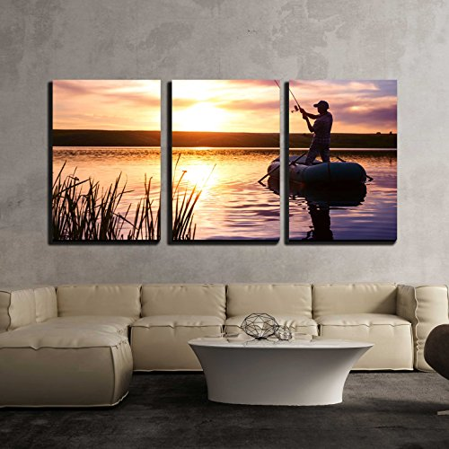 Mature Man Fishing from the Boat on the Pond at Sunset x3 Panels
