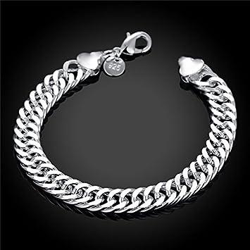 107a66674dc92 Amazon.com : 10 silver bracelet fashion men's 925 silver plated ...