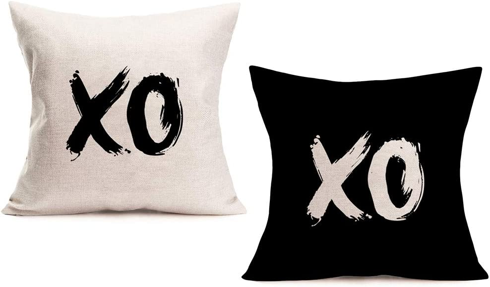 "ShareJ Set of 2 Xo Pillow Shams Decorative Standard Size Wordart Printed Cotton Linen for Home Sofa Car Office Decor Pillowcase 18"" X 18"" Black and White"