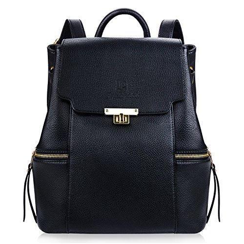 PU Travel Casual Backpack School for Girls for Daypack Leather Bag Women Fanspack Black Black pRxwCC