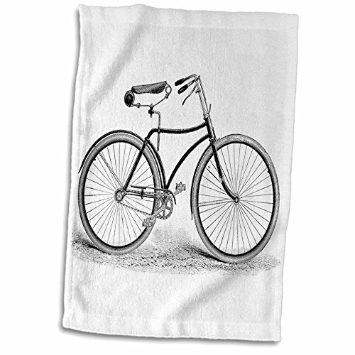 3D Rose Black and White Vintage Bicycle Pen and Ink Drawing Print-Old-Fashioned Cycler Cycling Bike Towel, 15