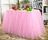 Toyofmine 3Pcs x Tutu Table Skirt Table Cloth Wedding Birthday Baby Shower Princess Parties Decoration (Pink)