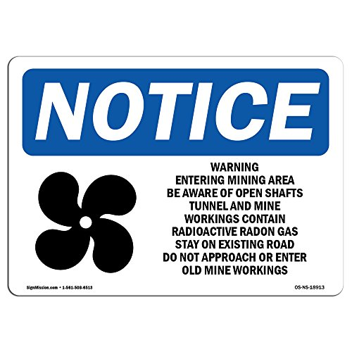 OSHA Notice Sign - Warning Entering Mining Area Sign With Symbol | Choose from: Aluminum, Rigid Plastic or Vinyl Label Decal | Protect Your Business, Construction Site |Made in the USA from SignMission