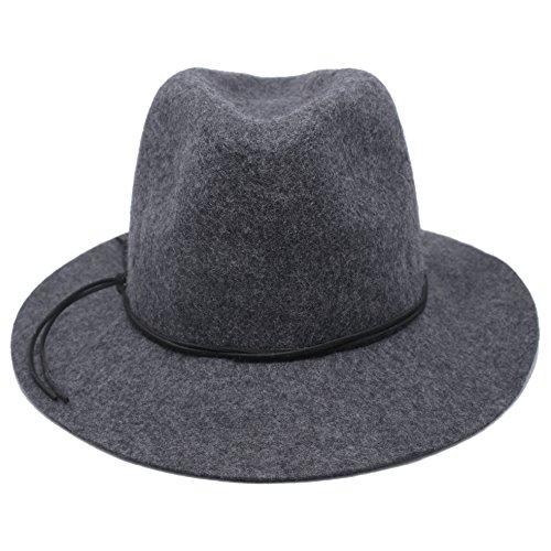 Mcupper-Women Vintage pearl Wide Brim 100% Wool Felt Hat Fedora Winter Cashmere Trilby Cloche flower Cap (Gray)