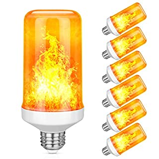 LED Flame Effect Light Bulb, E26 Standard Base Flame Bulbs, 4 Modes with Upside Down, Realistic Flickering Fire Lamp for Halloween Decoration Home Atmosphere Festival Christmas Party Bar, Pack of 6