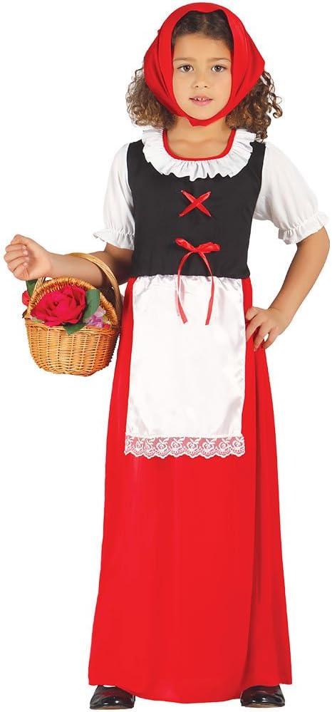 Guirca- Disfraz infantil de pastora, Color rojo, 10-12 años ...