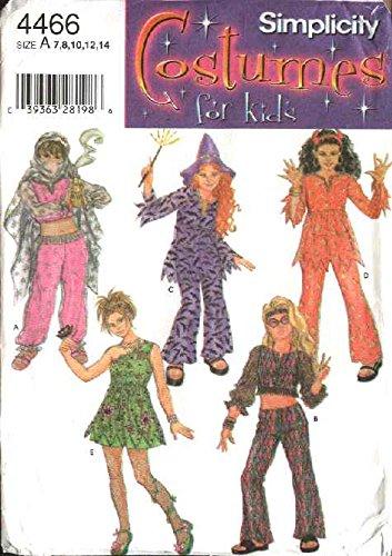 Simplicity Sewing Pattern 4466 Girls Size 7-14 Girls' Costumes Belly Dancer Garden Fairy Beatnik