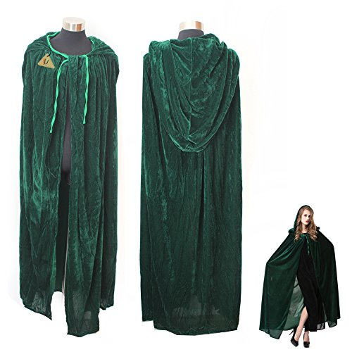 Green Witch Cosplay Cloak Masquerade Hooded Cape Halloween Party Dress Costumes