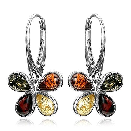 Multicolor Amber Sterling Silver Butterfly Leverback Earrings