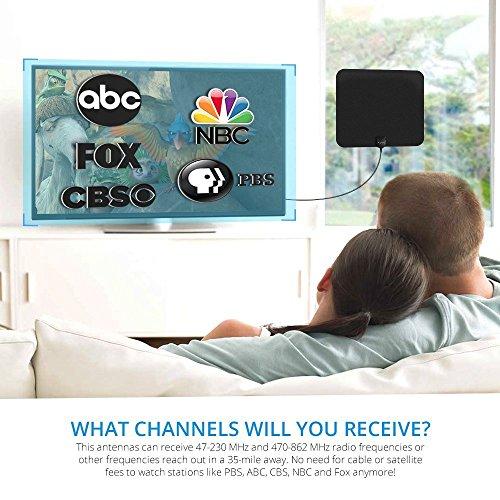 Antena de TV, [Nueva Versión]Pictek Antena de TV de Interior, Antena Digital, Ultra Delgada Antena de interior de 35 millas de Alcance para Digital ...