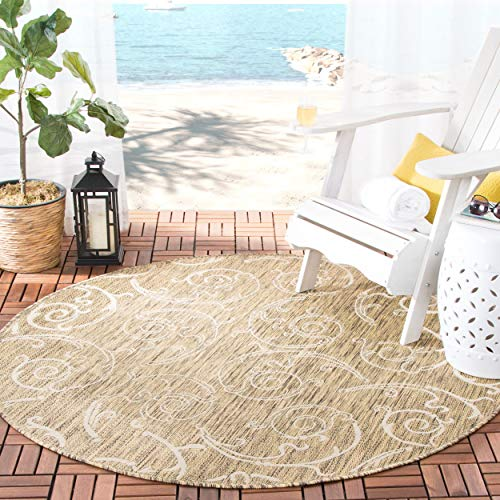 - Safavieh Courtyard Collection CY2665-3009 Brown and Natural Indoor/ Outdoor Round Area Rug (5'3