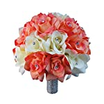 """10"""" Large Bouquet-Coral Ivory Open Roses with Rhinestone and Bling Silk Flower Beach Wedding Keepsake Flower"""