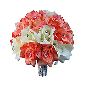 "10"" Large Bouquet-Coral Ivory Open Roses with Rhinestone and Bling Silk Flower Beach Wedding Keepsake Flower 89"