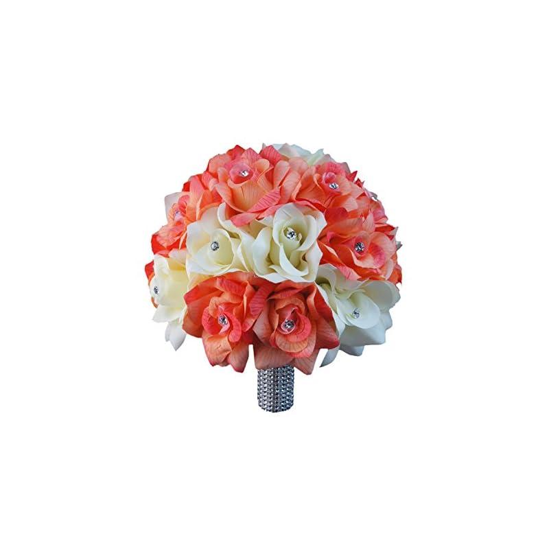 "silk flower arrangements angel isabella 10"" large bouquet-coral ivory open roses with rhinestone and bling silk flower beach wedding keepsake flower"
