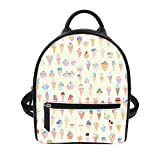 ice cream book bag - Ice Cream Print Women Leather Backpack Purse Satchel School Bags Casual Travel Daypacks for Girls