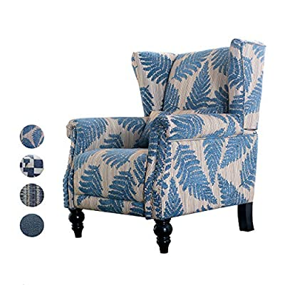 Top Space Accent Chair Sofa with Pine Wood Leg Club Arm Chair Leaf Print Single Sofa Modern Comfy Furniture for Home Living Room,Office,Bedroom, Print (Leaf Blue) - 【MODERN CHAIR】(Product color name is not accurate, please refer to the picture for specific product color) The club chair features a classically modern shape. A traditional floral pattern is always in style and the sturdy hardwood frame means you'll enjoy your armchair for years to come. 【COMFY CUSHION】Its padded cushion is firm yet soft for ultimate coziness. The high wingback commands attention and provides support for your spine. Padded arms provide added comfort during extended seating. The high back commands attention and provides support for your spine. There are also convenient armrests for your pleasure. Watch TV, read a book, or lounge around in style and comfort. 【IDEAL PLACES】Top Space modern accent chair is a great addition for apartments or some small space to get more comfort while reading gaming, or in front the fireplace. Use it in your TV room, office, dining room, or bedroom. Adults and kids alike will love this new luxury chair that can be moved easily to fit your space . - living-room-furniture, living-room, accent-chairs - 51KkbwLoDDL. SS400  -