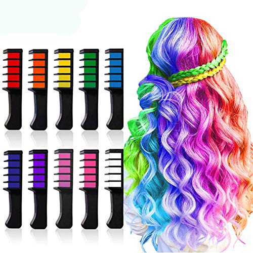 Halloween Cosplay Idea (10 Colors Hair Chalk for Girls,Kids Temporary Bright Hair color,Hair Chalk Comb Birthday Gift for Girls Of Ages 4 5 6 7 8 9 10+ Washable Color for Kids Hair)