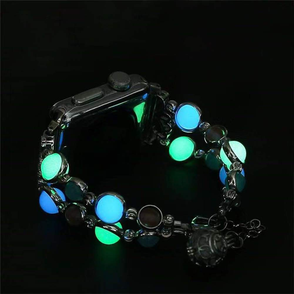 Jewelry Bracelet Compatible with Apple Watch Band Strap Wristband Handmade 38mm/40mm Iwatch Series 5/4/3/2/1, with Night Luminous watchband for Women & Girls 5.5-7 inch (Black) (Black, 38mm/40mm SM)