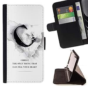 BullDog Case - FOR/Samsung Galaxy S3 III I9300 / - / CHIRST CAN FILL YOUR HEART /- Monedero de cuero de la PU Llevar cubierta de la caja con el ID Credit Card Slots Flip funda de cuer