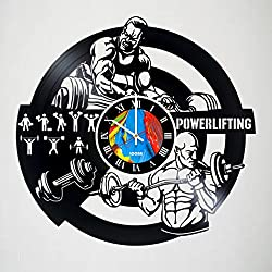 POWERLIFTING - Cute GYM Decor Vinyl Record Wall Clock - Exciting room decor - perfect gift idea for children, adults, men and women - Fitness Motivation Unique Art Design!