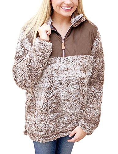 MEROKEETY Women's 1/4 Zip Stand Collar Sherpa Pile Pullover Tops Unisex Fleece Sweatshirt (Pullover Pile Fleece)