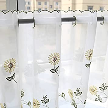 ZebraSmile 1 PCS Multi-Size Embroidered Flower Half Window Curtains Window Tier Curtain Tier Semi Sheer Curtain Window Treatment Voile Window Tier for Kitchen Living Room Valance