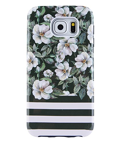 Galaxy S6 Case, Dimaka Cute Floral Bush Flower PC Cover with Shock Proof Protective TPU Bumper[Slim and Sturdy][2 Layers][Print Designed Pattern for Girls] for S6 Camellia Eden Stripe (Eden Pattern)