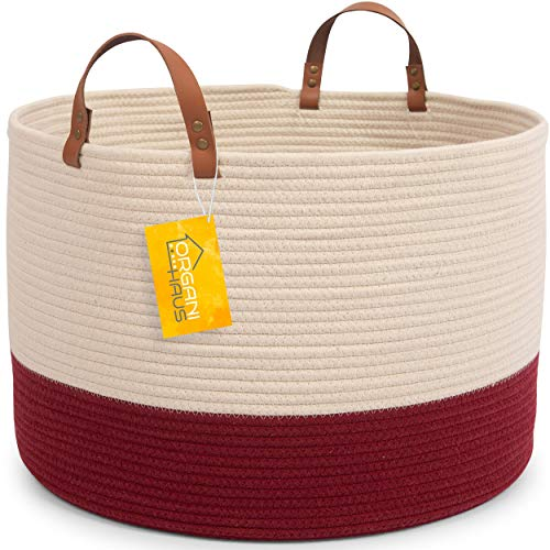 OrganiHaus XXL Cotton Rope Basket with Real Leather Handles | Large Decorative Basket with Genuine Leather Handles | Nautical Decor Basket for Living Room (Off - Room Burgundy Living