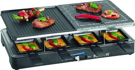Mesa Grill eléctrico Barbacoa Raclette 8 personas plancha 2 ...