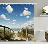Ambesonne Seaside Decor Collection, Sandy Path Leads to Ocean Pacific Puffy Clouds Vacation Serene Restful Quite Beach, Polyester Fabric Bathroom Shower Curtain, 84 Inches Extra Long, Cream Blue White