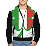 988Iron Italian Shamrock Design Men's Full-Zipper Hoodie Jacket