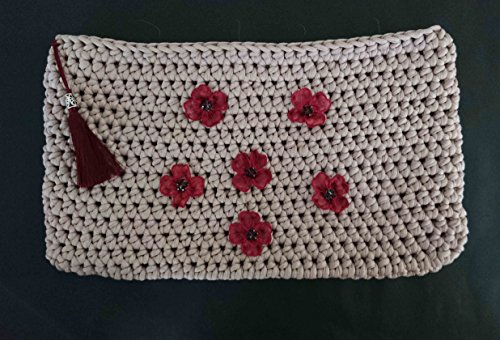 Handcraft Crochet Clutch Bag with flower applique and a fringe by (Applique Clutch)