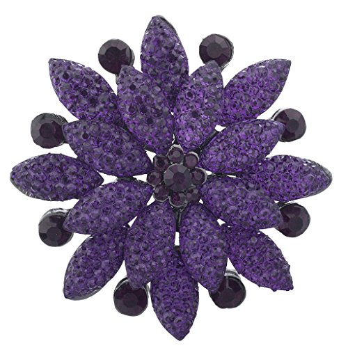 Lux Accessories Purple Pave and Crystal Stone Floral Flower Bling Brooch Pin (Stone Flower Brooch)
