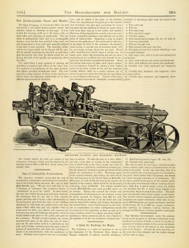 1884 Article Egan Double-Cylinder Planer Matcher Millwork Lumber Antique Machine - Original Print Article